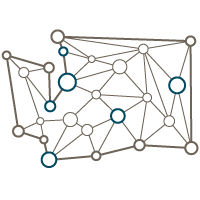 Network of nodes and connections in shape of Washington State