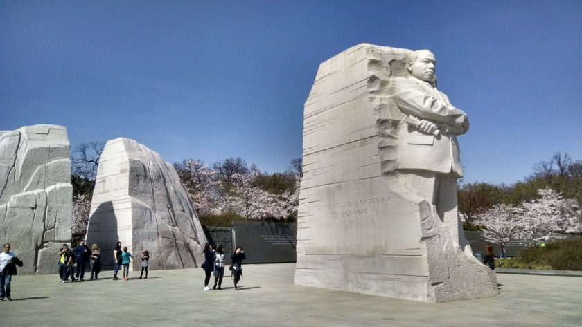 The 20 foot tall marble statue of Martin Luther King