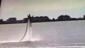 Person using a water jetpack