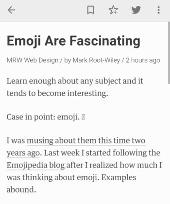 "This article appearing in Feedly app on Android phone. The nerd emoji appears as box with ""X"" through it."