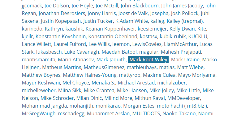 List of names as links, Mark Root-Wiley is highlighted