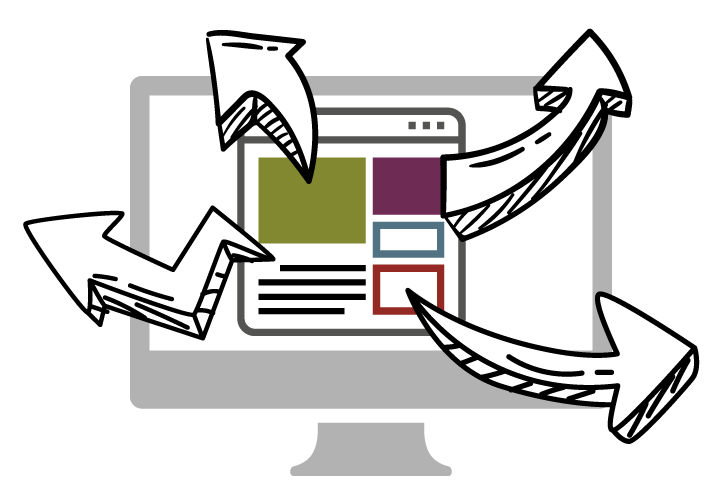 Illustration: Multiple website components with arrows leading outside the computer