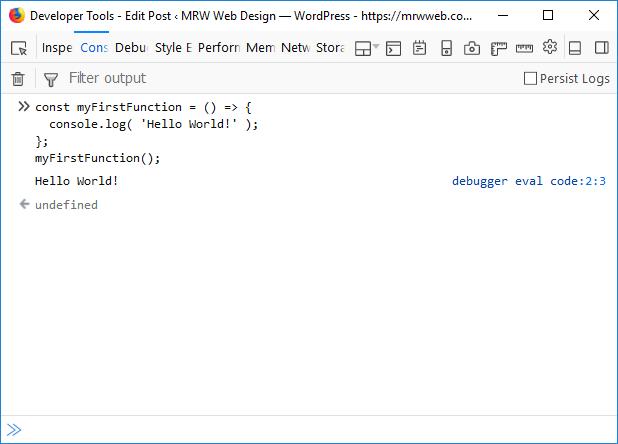 "A JavaScript function says ""Hello World!"""