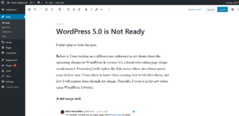 This Blog Post in the WordPress 5.0 Editor