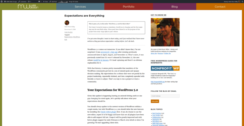 A blog post on MRWweb.com on a wide screen shows large areas of white space on the right and left. The content and a sidebar fill roughly 40% of the screen.