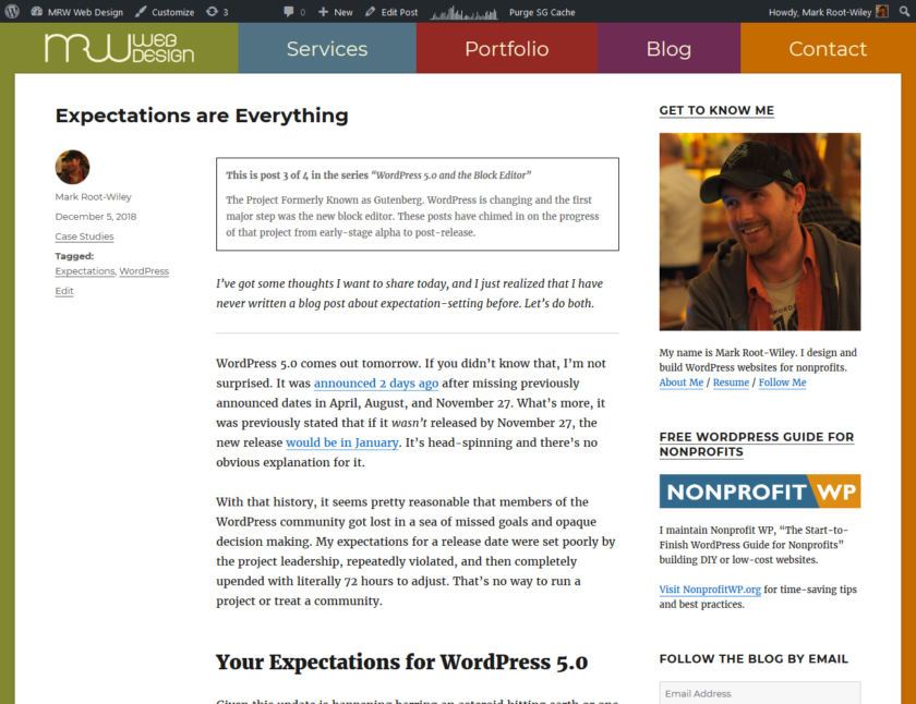 Screenshot of MRWweb.com showing content filling most of the screen.