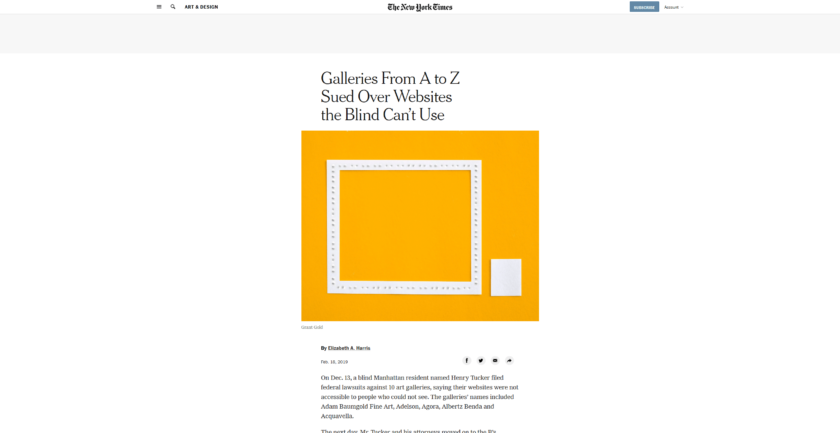 New York Times Article: Galleries From A to Z Sued Over Websites the Blind Can%u2019t Use The New York Times