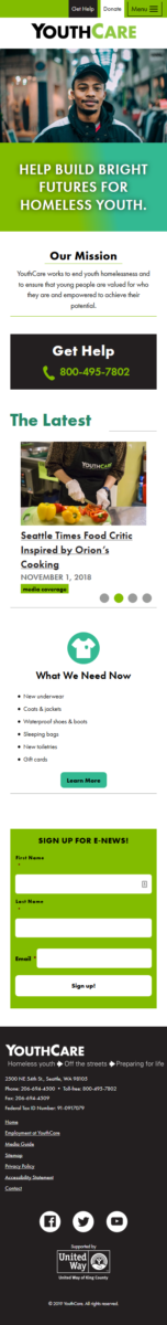 A phone-size screenshot of the YouthCare.org home page