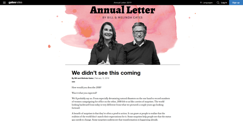 Gates Foundation Letter: We didn't see this coming