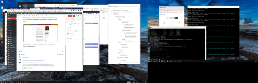 A large left monitor and smaller right monitor with 10 total windows open. Firefox fills roughly 40 percent of the larger left monitor.