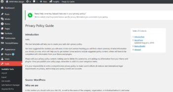 Screenshot of WordPress Privacy Policy template