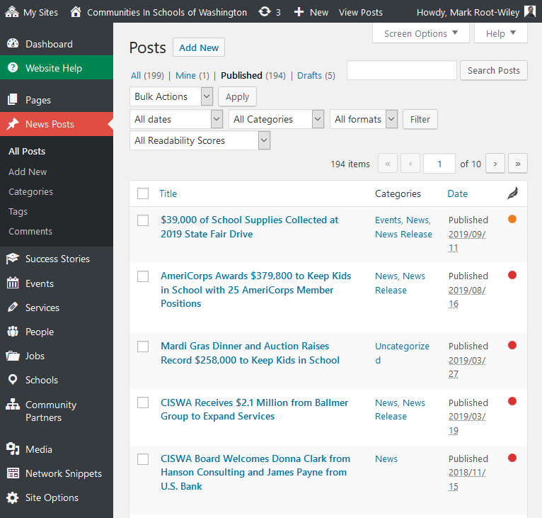 Screenshot of ciswa.org WordPress dashboard. A number of custom content types are in the left admin menu.
