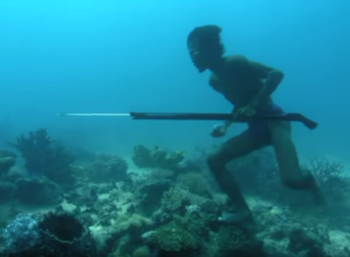 A man spearfishing deep underwater