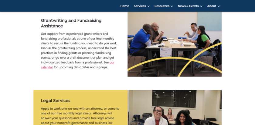 Two sections of the Nonprofit Services page showing client services. Crossed yellow lines decorate the first of two images.