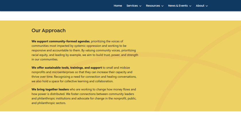 """Our Approach"" section of the ""What We Do"" page, bright yellow background with pink crossing lines watermark"