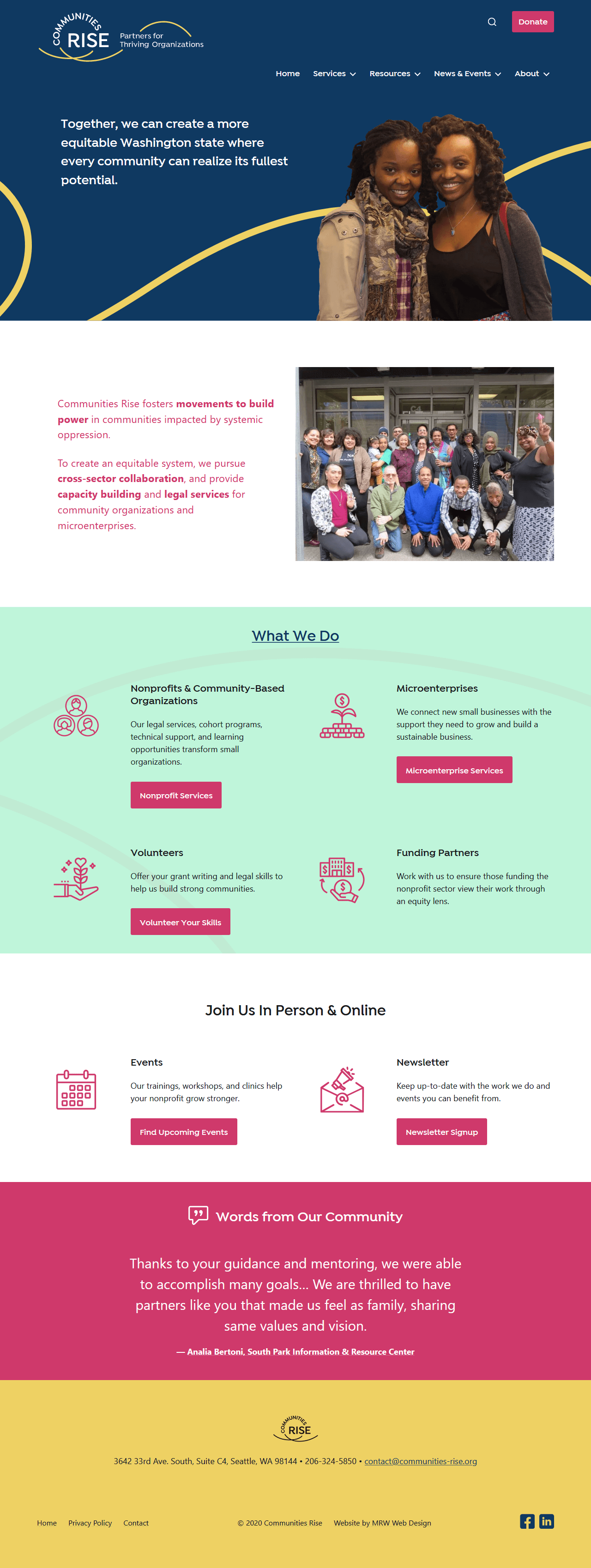 Communities Rise home page on desktop