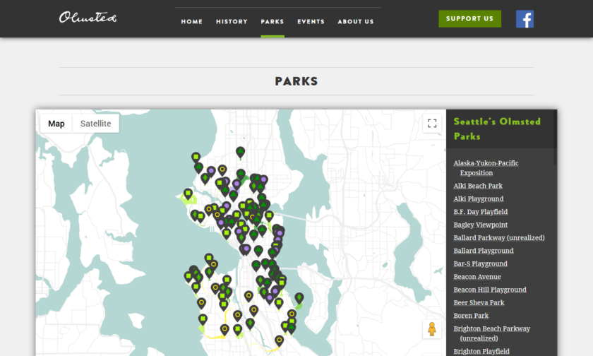Map of parks on the SeattleOlmsted.org website