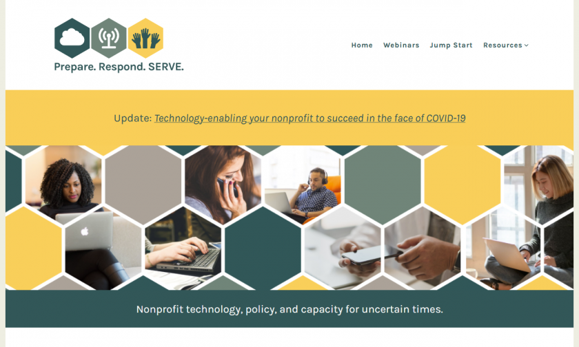"Prepare. Respond. Serve. home page banner shows honeycomb pattern containing people on laptops and cell phones. Tagline ""Nonprofit technology, policy, and capacity for uncertain times."""
