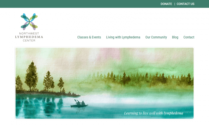 "Northwest Lymphedema Center home page with large watercolor scene showing paddlers and the phrase ""Learning to live well with lymphedema"""