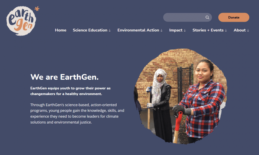 Top of EarthGen home page on large screen