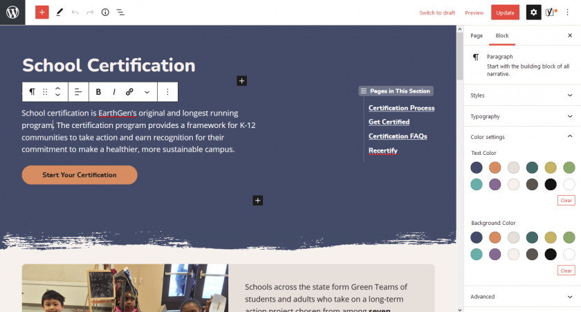 Edit screen for the School Certification page looks very similar to the visitor-facing page.