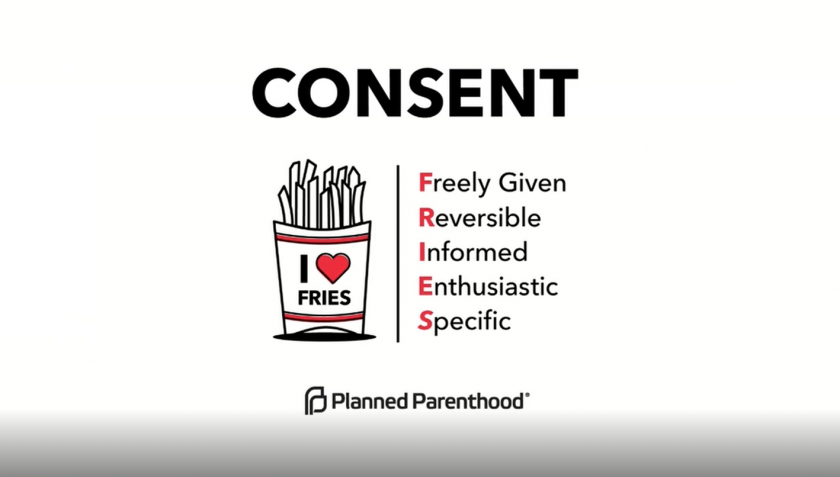 "Consent: ""FRIES"" acronym - Freely Given, Reversible, Informed, Enthusiastic, Specific"