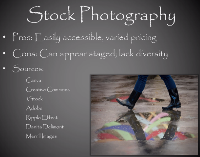 Stock photography. Pros: Easily accessible, varied pricing. Cons: Can appear staged; lack diversity. Sources: Canva, Creative Commons, iStock, Adobe, Ripple Effect, Danita Delimont, Merrill Images