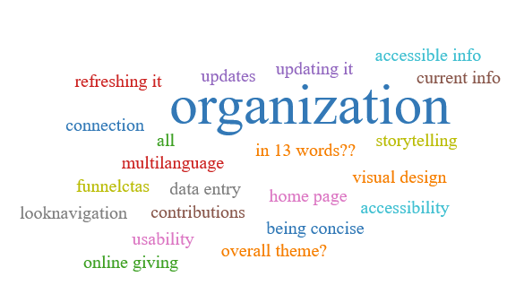 """Tag cloud. """"Organization"""" is the only word mentioned multiple times. Other frequent themes are updates, calls to action, design, and accessibility"""