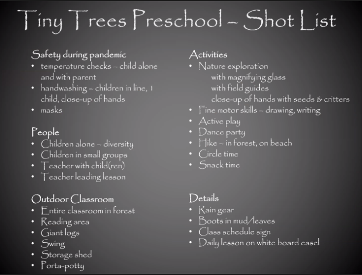 Tiny Trees Preschool Shot List: Safety during pandemic: temperature checks - child alone and with parent, handwashing - children in line, 1 child, close-up of hands. People: children along - diversity, children in small groups, teacher with child(ren), teacher leading lesson. Outdoor classroom: Entire classroom in forest, reading area, giant logs, swing, storage shed, porta-potty. Activities: nature exploration with magnifying glass with field guides close-up of hands with seeds & critters, fine motor skills - drawing, writing, active play, dance part, hike - in forest, on beach, circle time, snack time. Details: rain gear, boots in mud/leaves, class schedule sign, daily lesson on white board easel.