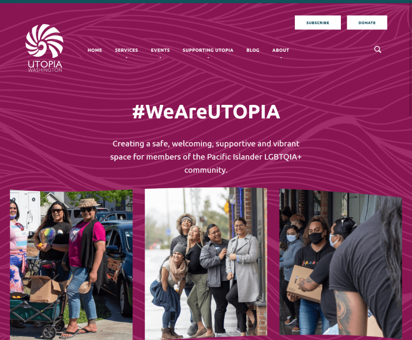 Top of UtopiaWA.org home page. Fuscia background with wavy texture behind #WeAreUTOPIA, mission statement, and 3-photo gallery.