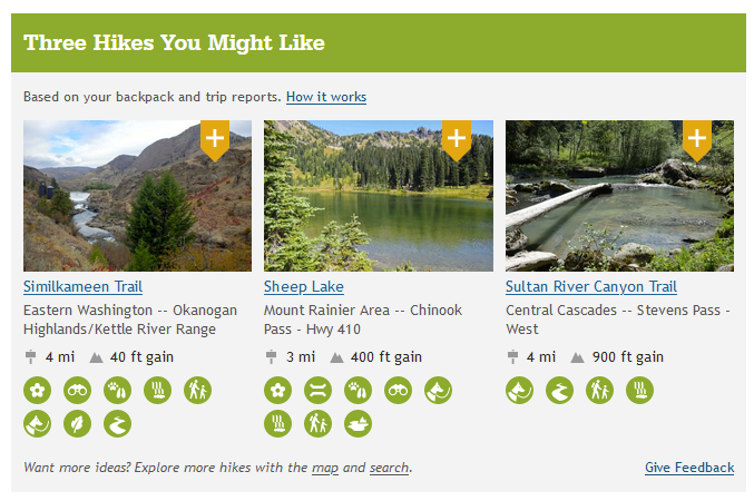 """Hike Recommender tool showing three hikes with photo and details about each and an """"Add to Backpack"""" plus symbol button"""